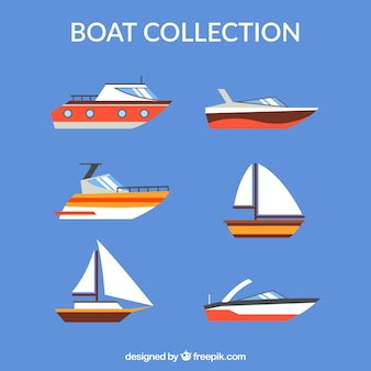 Collection of boats in flat design