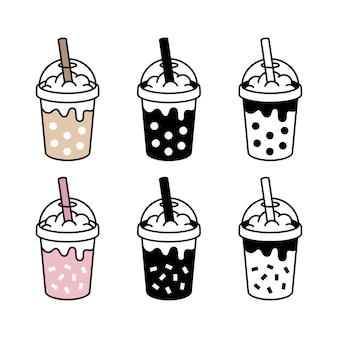 Collection of boba milk tea