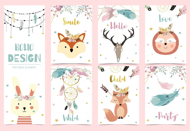 Collection of boho cards set with feather,dreamcatcher,fox,sloth,rabbit