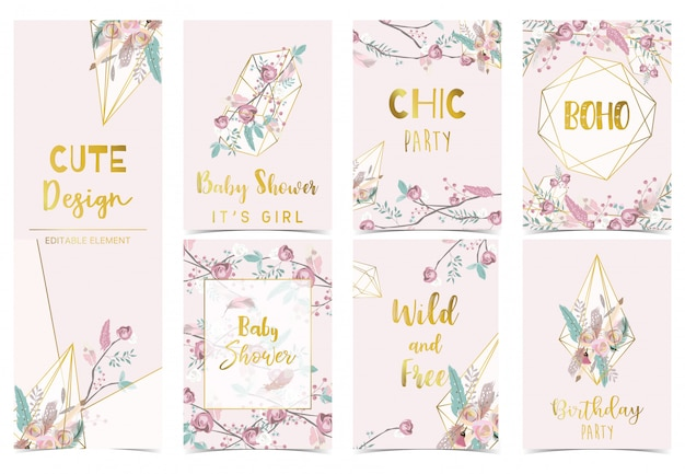 Collection of boho cards set with flower, feather. birthday party invitation