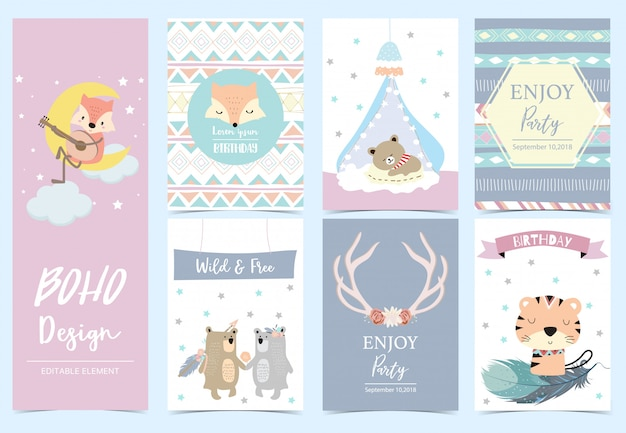 Collection of boho cards set