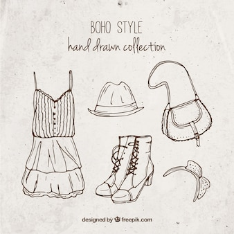 Collection of boho clothes hand drawn