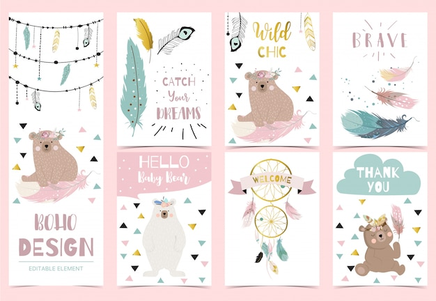 Collection of boho postcards with feather