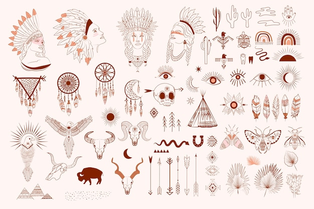 Collection of boho and tribal elements, woman face portrait, dreamcatcher, birds, animals skull