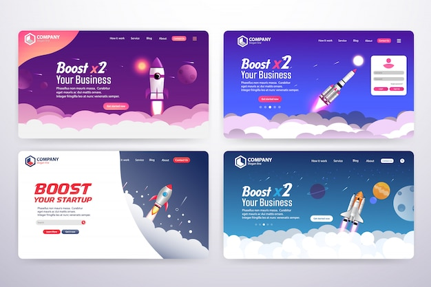 Collection of boost business landing page