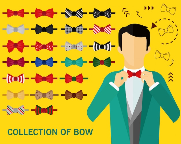 Collection of bow concept background