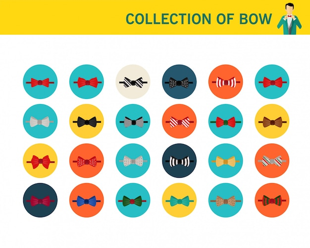 Collection of bow concept flat icons.