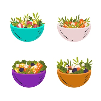 Collection of bowls with fruit and salad