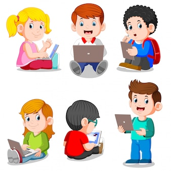 Collection of boy and girl studying with laptop and tablet