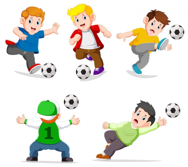 Collection boy playing soccer with different posing