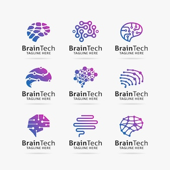 Collection of brain tech logo design