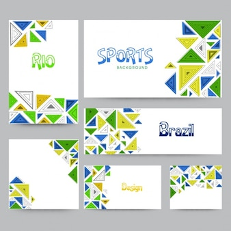 Collection of brazil banners with triangles in different colors