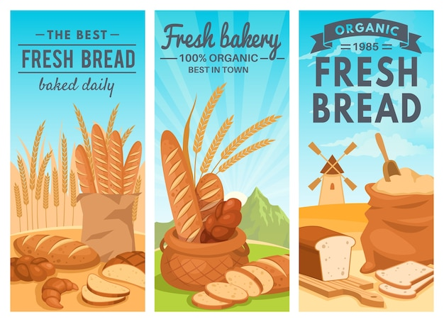 Collection of bread banners