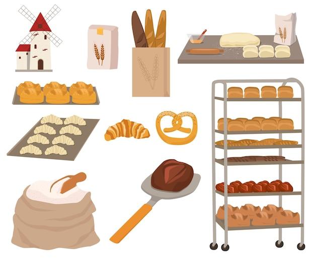 Collection of bread and pastries.  flour, rolling pin, dough, bagel, baguette, croissant, pretzel.