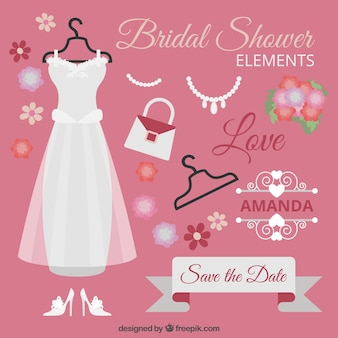 Collection of bridal shower elements