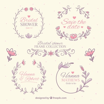 Collection of bridal shower frames in pastel colors