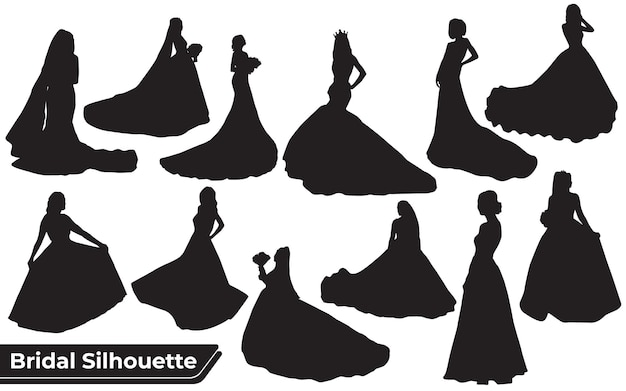 Collection of bridal silhouettes in different poses set