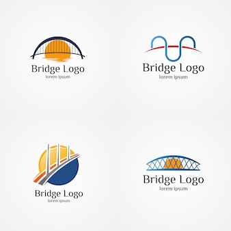 Collection of bridge logo vector illustration template