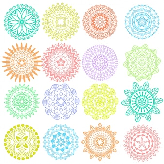 Collection of bright colorful mandala