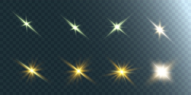 Collection of bright glowing lights. bright star. transparent shining sun, bright flash.