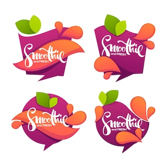 Collection of bright and shine  stickers, emblems and banners for smoothie and juice