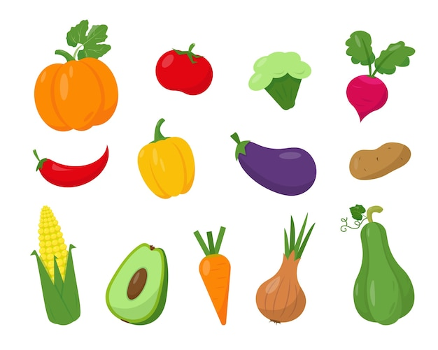 Collection of bright vegetables isolated on white background.
