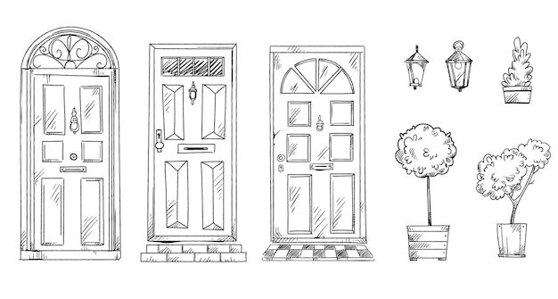 Collection of british traditional doors with flower pots and lanterns, vector sketch