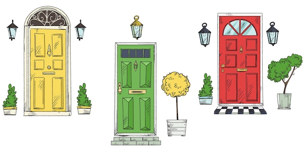 Collection of british traditional home entrance doors  vector sketch