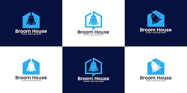 A collection of broom house logo design inspiration cleaners and clean houses