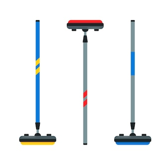 Collection of brooms for curling winter ice sport