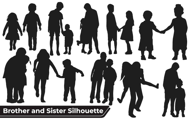 Collection of brother and sister silhouettes in different poses set
