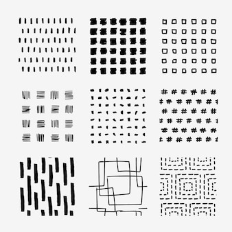 Collection of brush lines and shapes