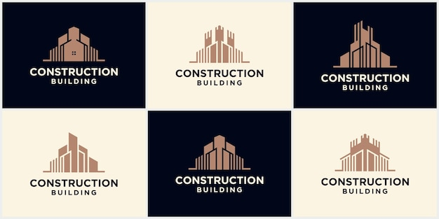 A collection of building architect construction logos, architect construction concepts of skyscrapers, building and house construction business logos