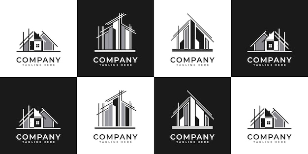 Collection of building architecture sets, real estate logo design symbols.