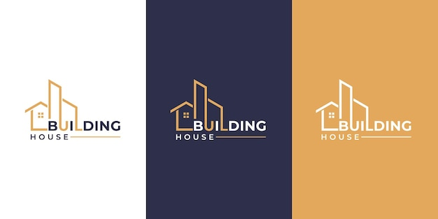 Collection of building architecture sets real estate logo design