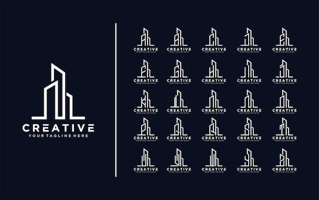 Collection of building architecture sets real estate logo letter a to z logopremium vector