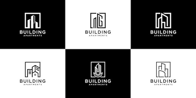 Collection of building architecture sets, real estate logo