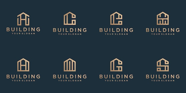 A collection building line art style logo designs in abstract modern minimalist flat for business