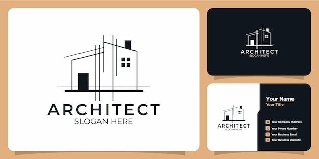 Collection of building logo and business card templates
