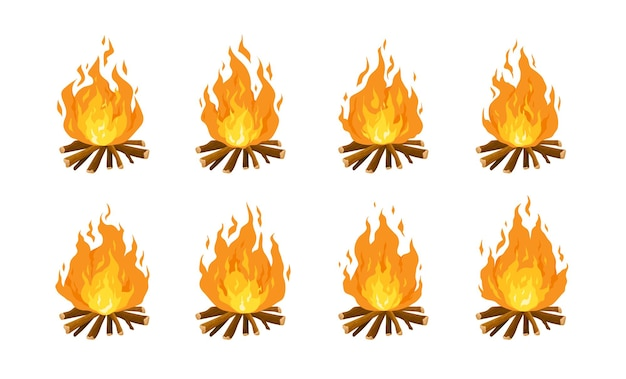 Collection of burning bonfires or campfires isolated on white. animation set of flame on firewood or logs in fire