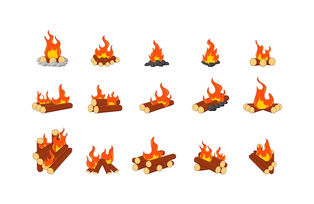 Collection of burning bonfires or campfires isolated on white background. animation set of flame on firewood or logs in fire. wood campfire, travel and adventure symbol.