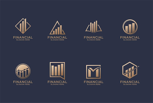 Collection of business financial logo design.