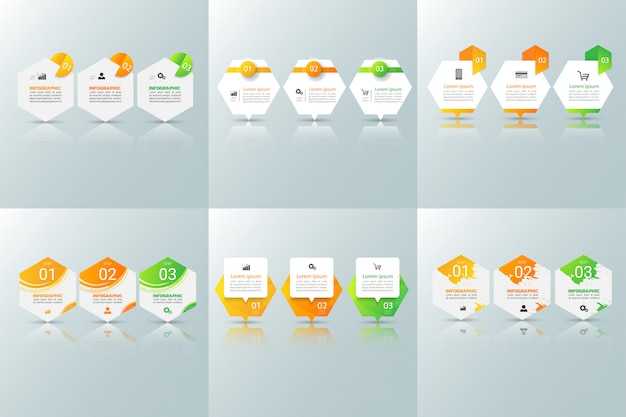 Collection of business infographics design template.