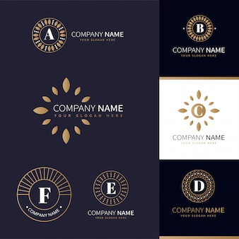 Collection of business logos with golden natural elements