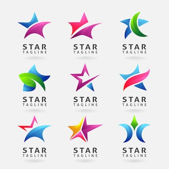 Collection of business star logo design