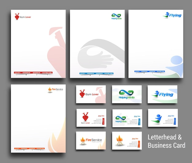 Collection of business style corporate identity letterhead and business card template