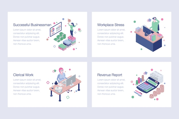 Collection of business vector illustrations