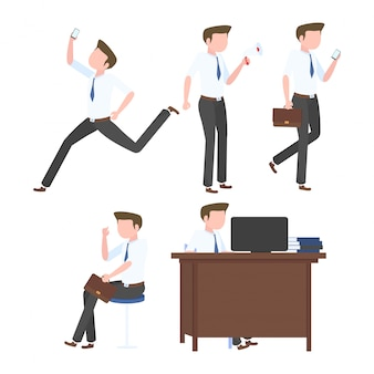 Collection of businessman in a flat style