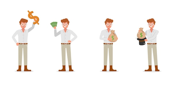Collection of businessman working