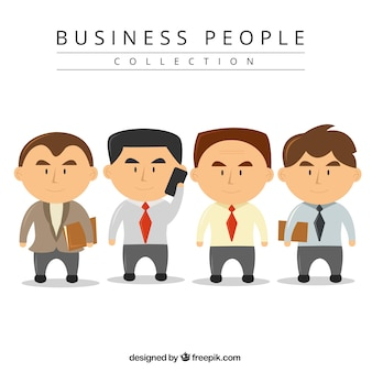Collection of businessmen with big heads